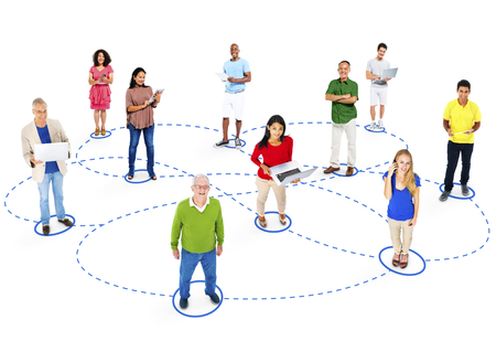 Casual Group Diverse People Interconnection Social Networking Concept Stock Photo