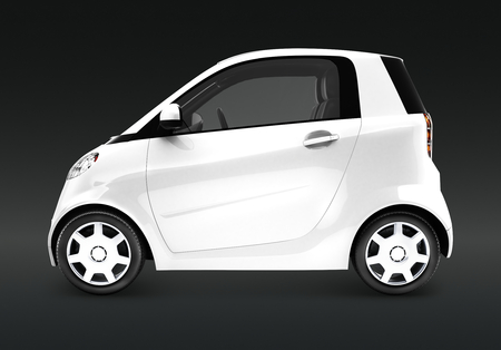 Side view of a white microcar in 3D 스톡 콘텐츠