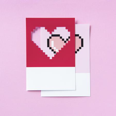 Pixelated heart shape 3D illustration Reklamní fotografie