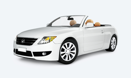 Side view of a white convertible in 3D Stock Photo