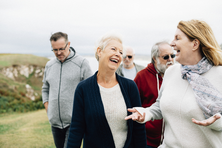 Group of elderly people enjoying together