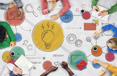 Light Bulb Ideas Creative Diagram Concept Banco de Imagens