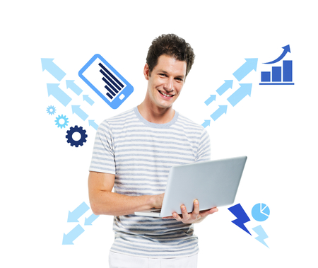 Casual Smiling Man Working on a Computer 스톡 콘텐츠