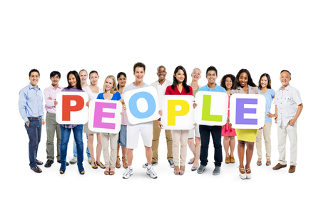 A Large Group of Colorful Diverse People Holding White Placards with Letters Forming the Word People Stock Photo