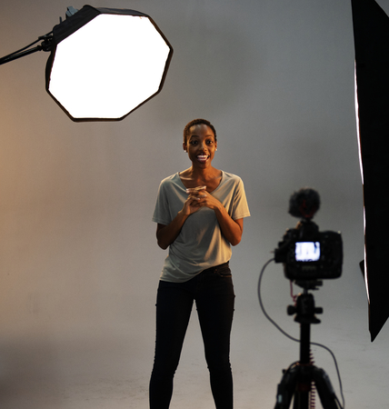 Actress in front of the camera in an audition