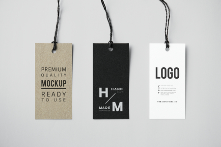 Three fashion label tag mockups
