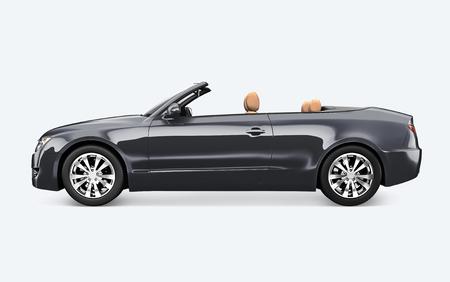Seitenansicht eines grauen Autos in 3D Standard-Bild