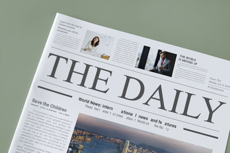 The daily news newspaper mockup Stock Photo - 117589950