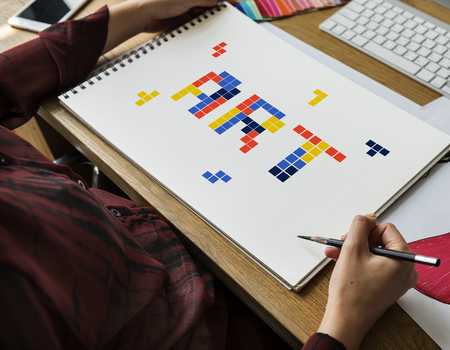 8 bit words illustration of creativity art design ideas