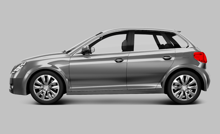 Side view of a silver hatchback in 3D