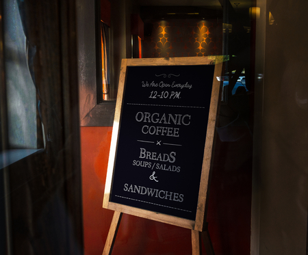 Wooden framed organic coffee board mockup