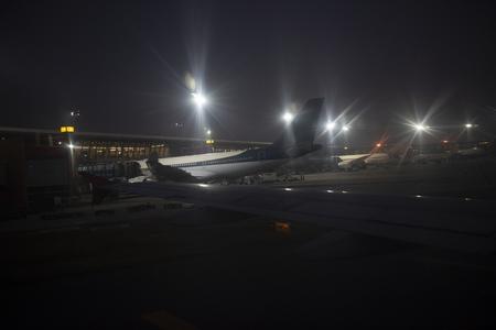 Aircrafts parking at the airport apron in New Delhi Stock fotó