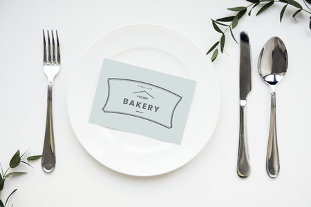 Paper card design space on a plate mockup