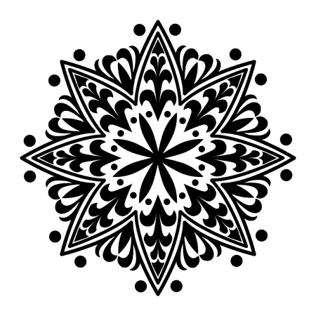 Black mandala pattern on white background Illusztráció
