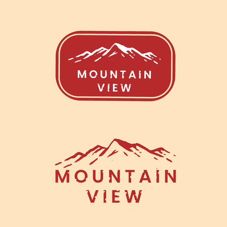 Mountain view logo set vector