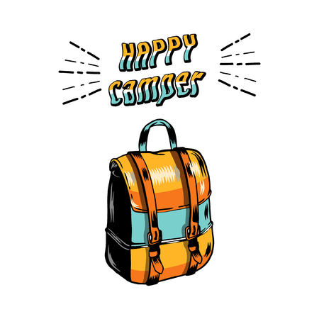 Happy camper with a backpack vector