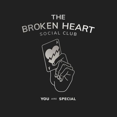 Der Logovektor des Social Clubs mit gebrochenem Herzen