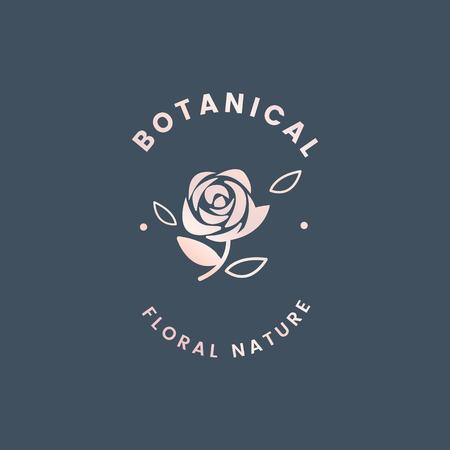 Botanical floral rose badge vector 일러스트
