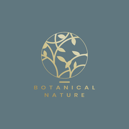 Botanical nature circle badge vector