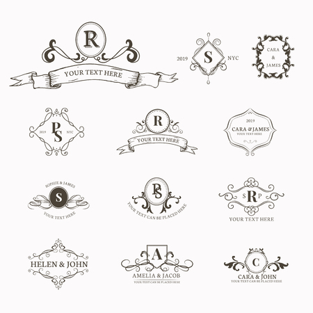 Vintage baroque badge design set