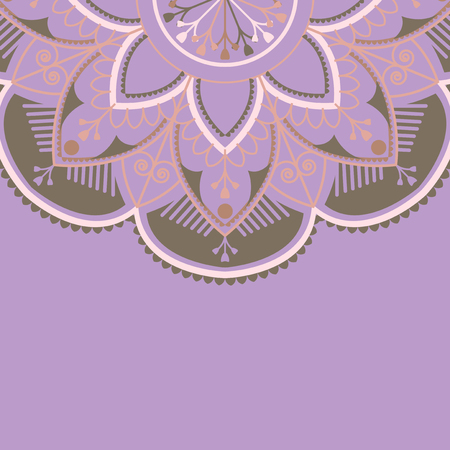 Purple and brown mandala pattern on purple background