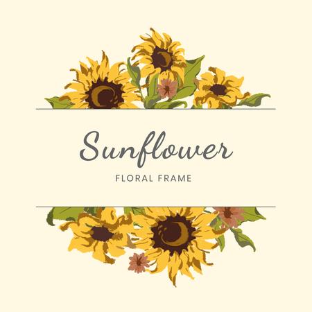 Round sunflower wreath frame vector Stok Fotoğraf - 117605096