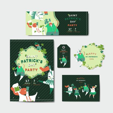 St. Patrick's Day celebration set layout vector Illustration