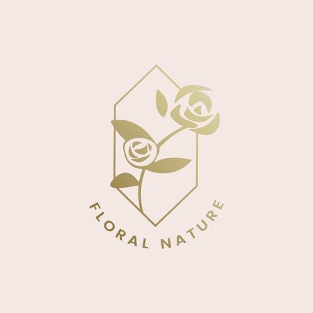Floral nature rose badge vector Archivio Fotografico - 117605099