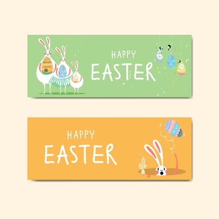 Easter celebration banner vector  イラスト・ベクター素材
