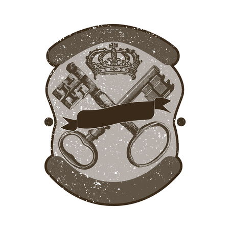 Keys and crown badge vector Banque d'images - 117605103