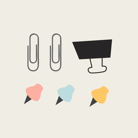 Paperclips and pushpins vector set
