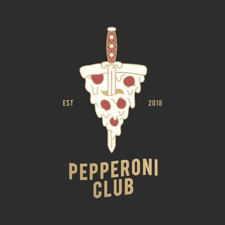 Pepperoni club pizza logo vector