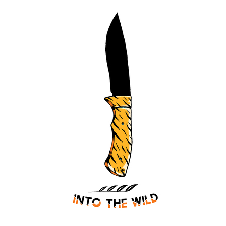 Into the wild with a camping knife vector Stockfoto - 124971243