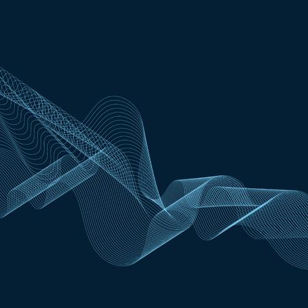 Sky blue moiré wave on space blue background Archivio Fotografico - 124971244