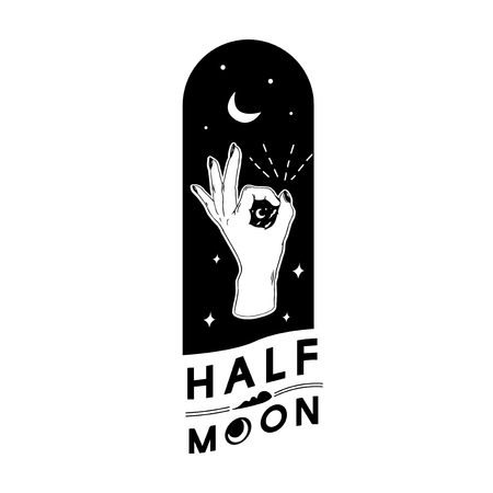 Half moon with ok hand gesture vector