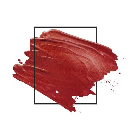 Red brush stroke badge vector