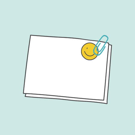 Blank note paper clipped with smiling sticker vector