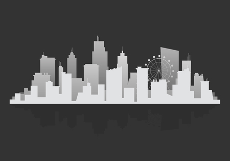 Gray silhouette cityscape background vector Иллюстрация