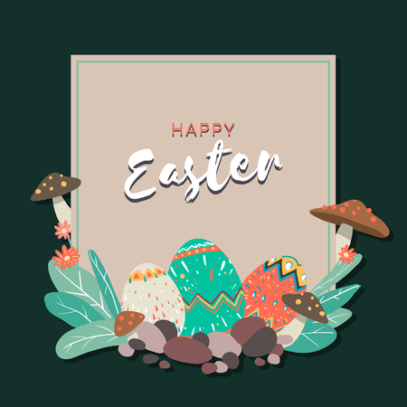 Easter eggs hunt festival square brown frame vector