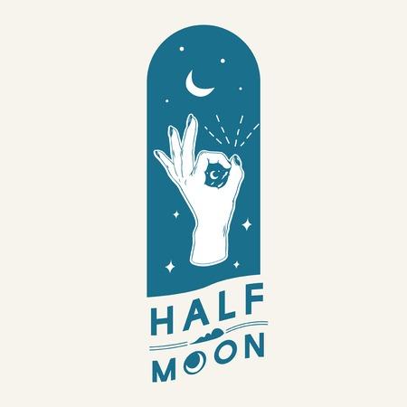 Half moon with ok hand gesture vector