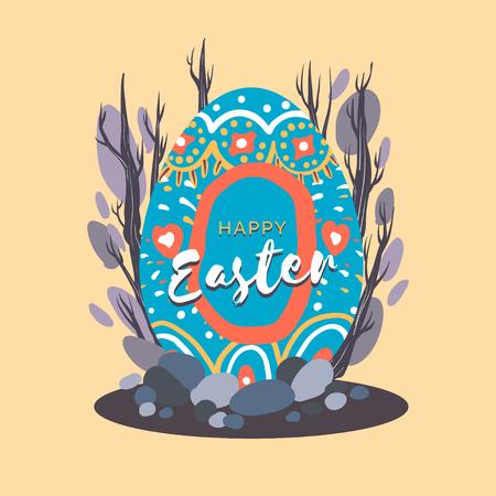 Easter eggs hunt festival vector