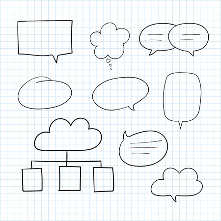 Hand-drawn doodle speech bubbles vector set  イラスト・ベクター素材