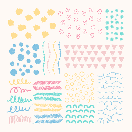 Hand drawn patterned design elements vector set