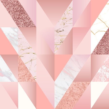 Pink feminine geometric background vector Çizim