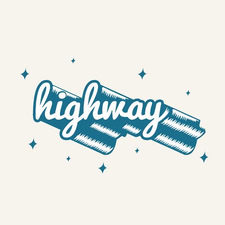 The word highway typography vector
