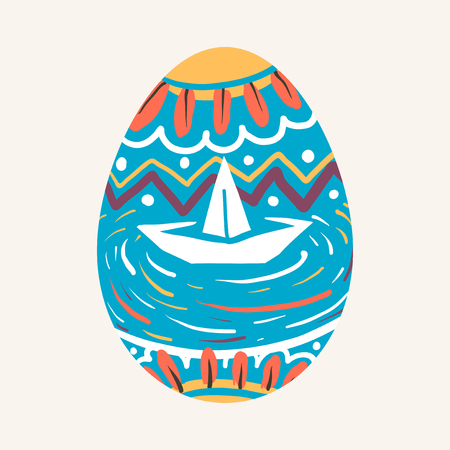 Easter festival painted egg vector