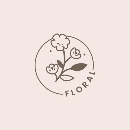 Botanical floral rose badge vector  イラスト・ベクター素材