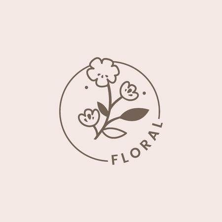 Botanischer Blumenrosen-Abzeichenvektor