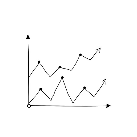Growing line chart arrows vector