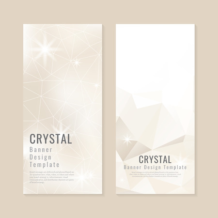 Beige crystal textured banner template vector